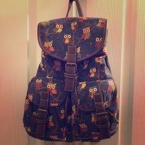 🌈3/$20. Fashion Backpack w/ cute owl print🦉